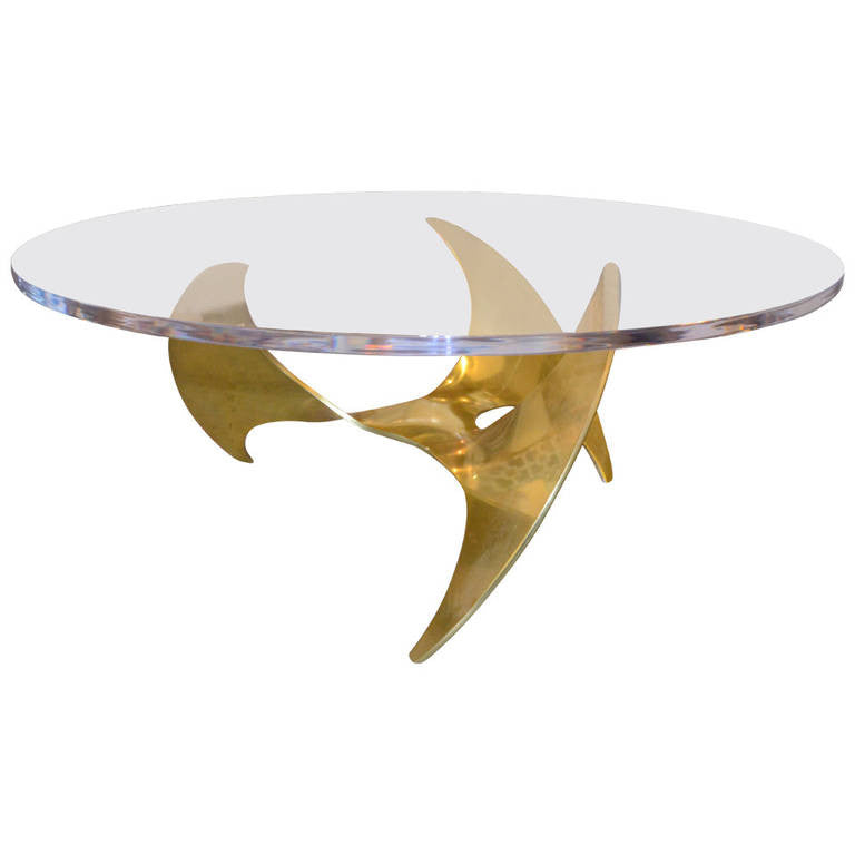 Knut Hesterberg Brass Propeller Coffee Table