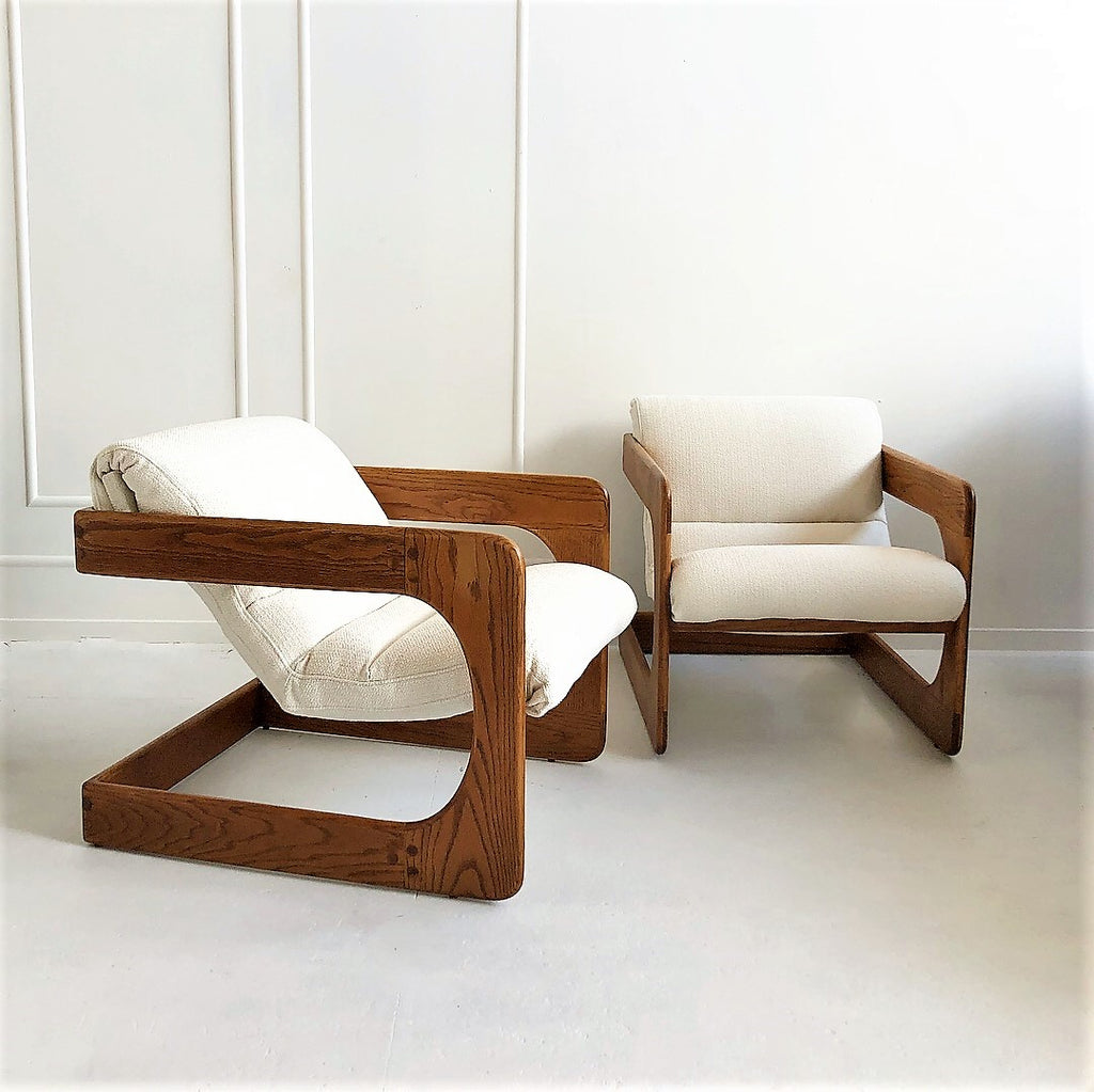 1970's Lou Hodges Oak Lounge Chairs