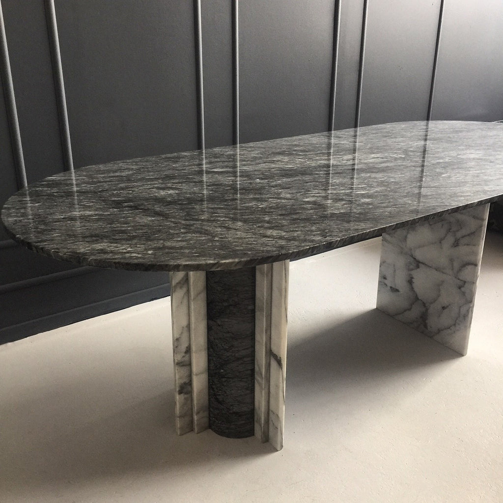 Vintage Grey Marble Dining Table Mid Century Swag
