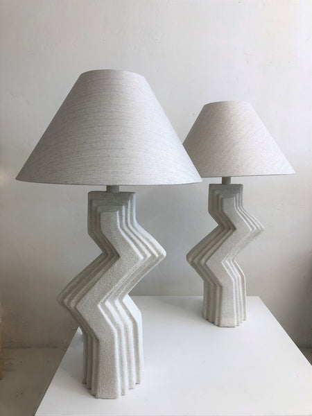 SOLD Abstract Ceramic Zig Zag Lamps