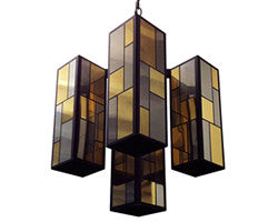 Bronze Glass Geometric Chandeliers