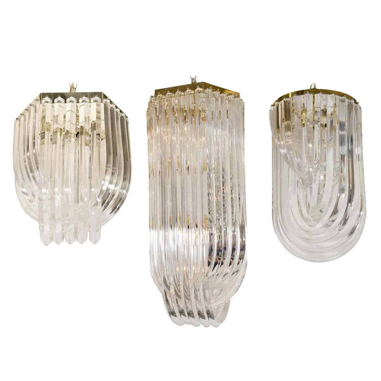 Vintage Art Deco Lucite Ribbon Chandeliers