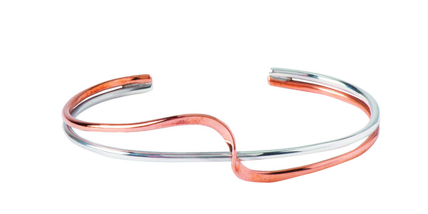 Copper and Silver Twist Bangle