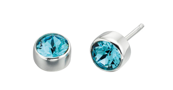 Silver Stud Earring with Aquamarine colour Swarovski Crystal