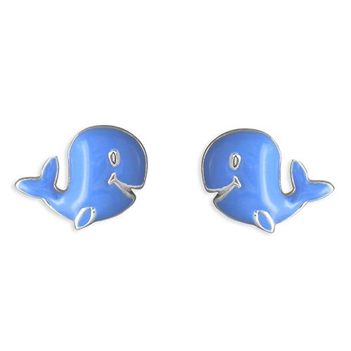 Childs Silver Blue Whale Studs