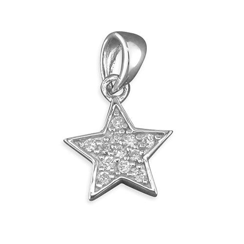 Childs Silver Cubic Zirconia Star Pendant