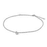 Silver Anklet with Cubic Zirconia