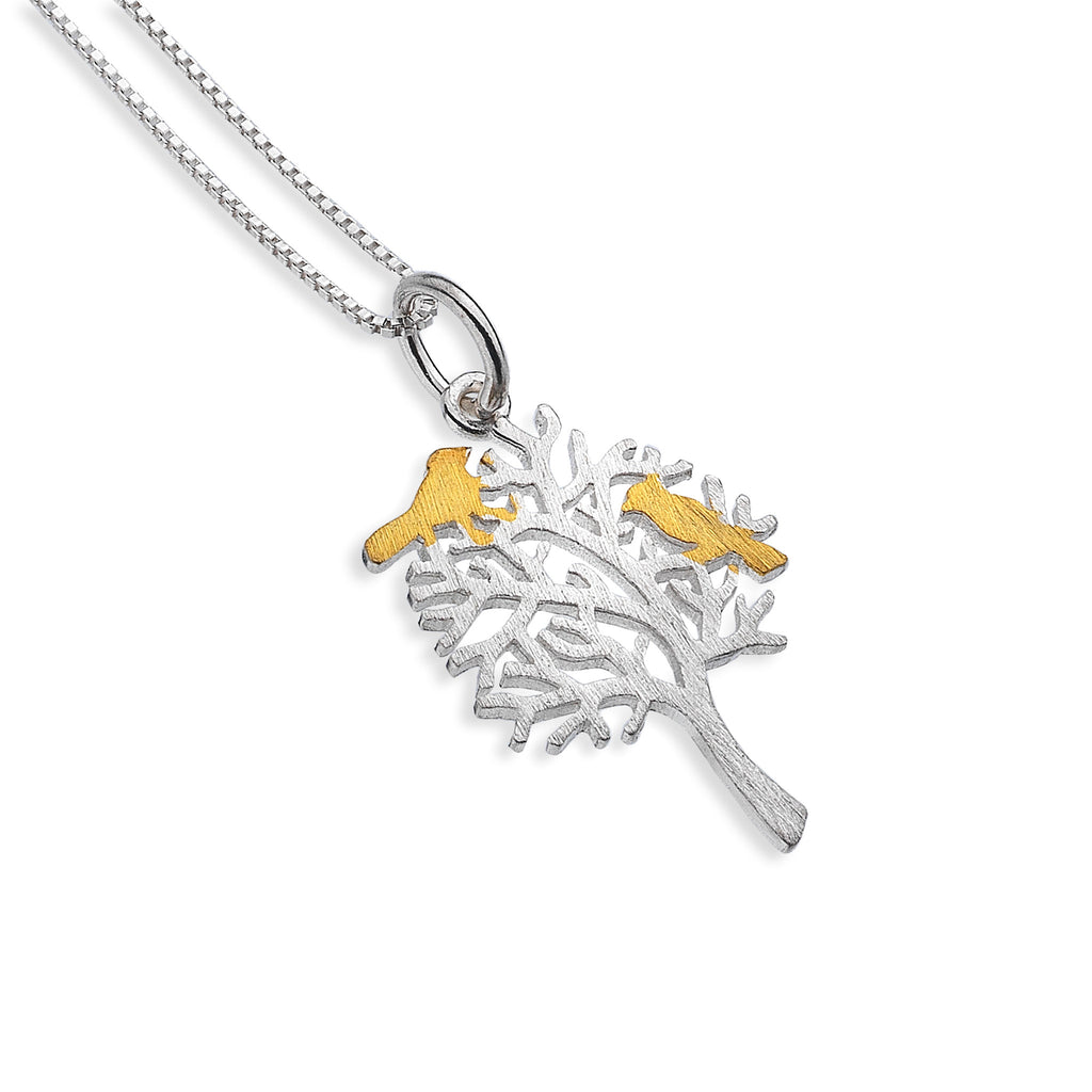 Silver tree with two gold birds pendant and chain