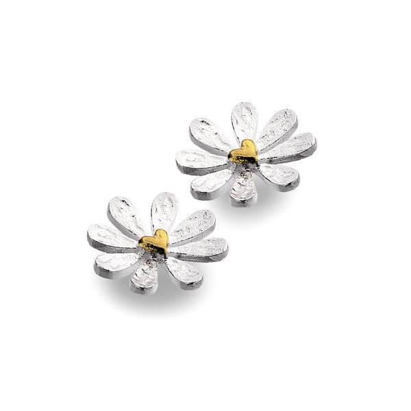 Silver daisy and heart stud earrings