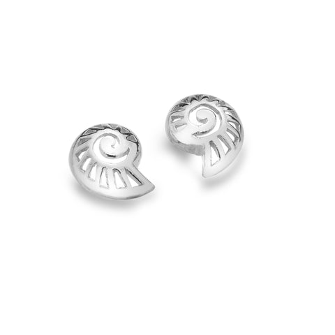 Silver Nautilus Shell Earrings