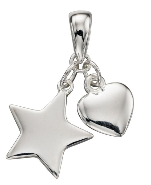 Silver Heart and Star Pendant
