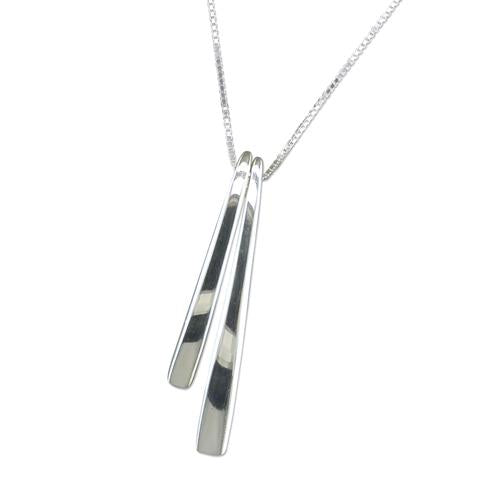 Silver Curved bars Necklace