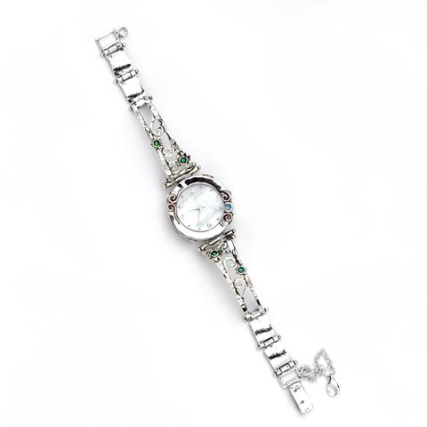 Silver Watch With Opals