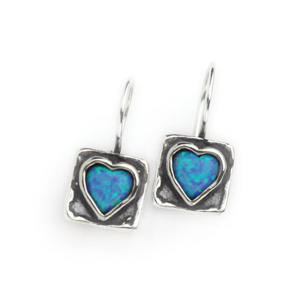 Square hook earrings with opal heart in the centre