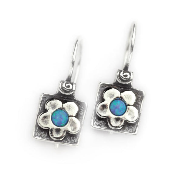 Silver Square Earrings with Daisy and Opal Centre