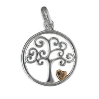 Silver Tree of Life pendant with Rose Gold Heart
