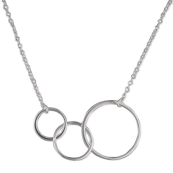 Silver Triple Graduated Circles Necklace