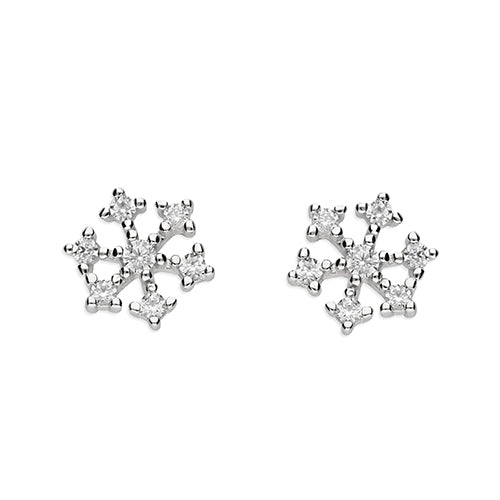 Silver Sparkle Snowflake Stud Earring