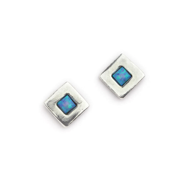 Silver and Opal square studs.