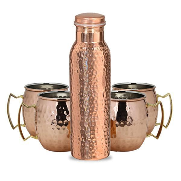 1 Copper Bottle and 4 Copper Mugs