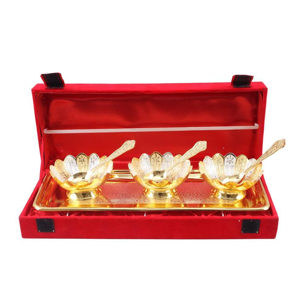 3 Brass Bowl Set with Tray and Spoon