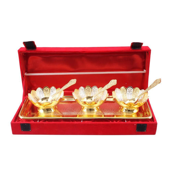 3 Brass Bowl Set with Tray and Spoon - YesNo