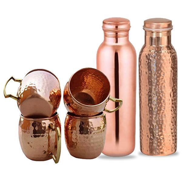 4 Copper Mugs & 2 Copper Bottles