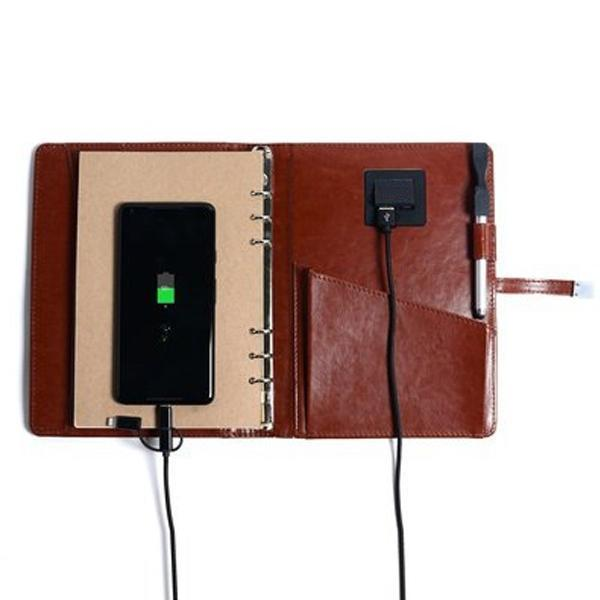 5000 mAh Power Bank Organizer With 16 GB Pen Drive - Brown