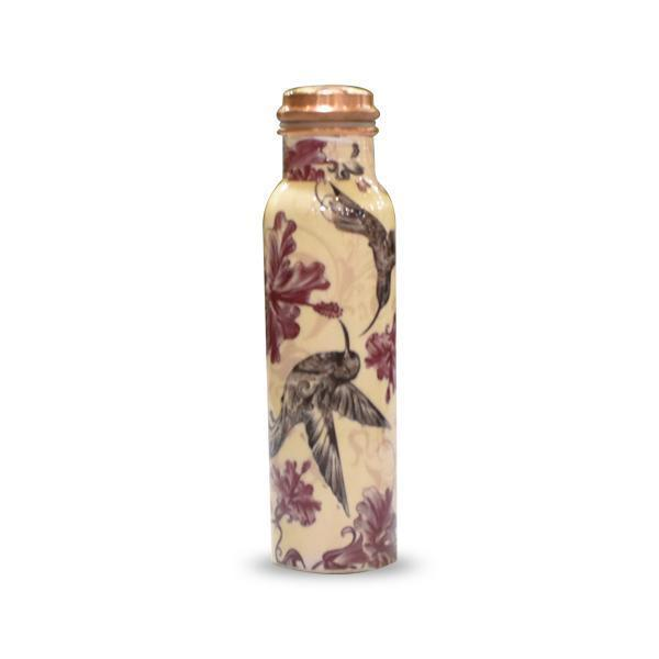 Black Bird Meena Printed Copper Bottle and Glass Set - YesNo