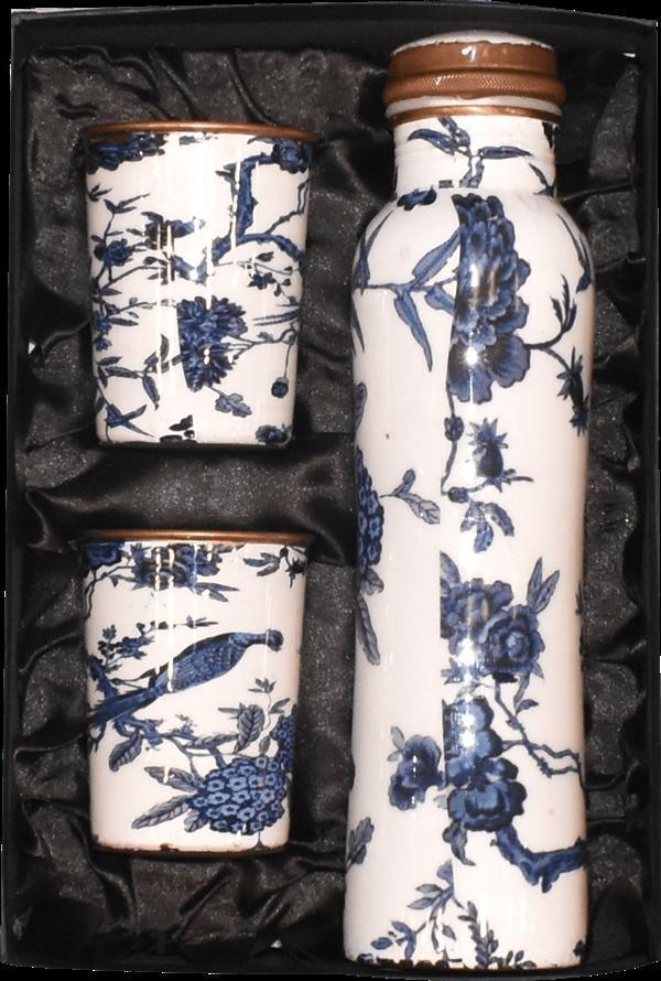 Blue Flower Meena Printed Copper Bottle and Glass Set - YesNo