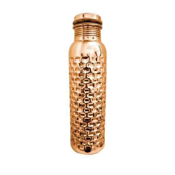 Hammered Bricks Design Copper Water Bottle