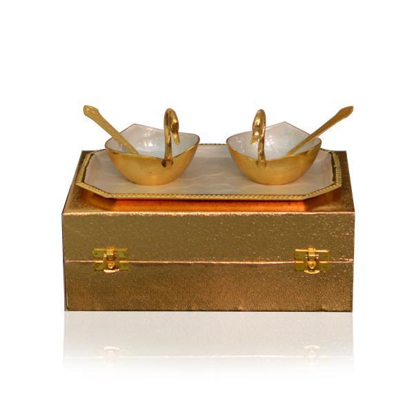 Meena Coated Duck Bowl And Spoon Set With Tray