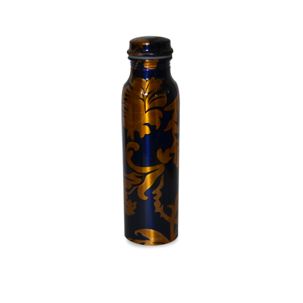 Printed Copper Bottle and Glass Set - Blue - YesNo