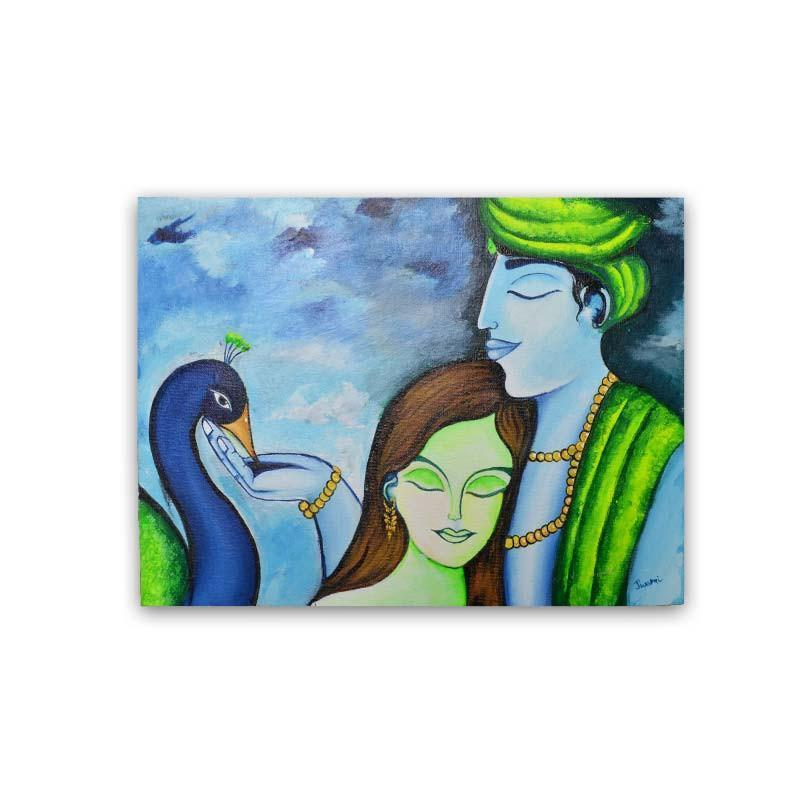 Radha Krishna Canvas Board Painting