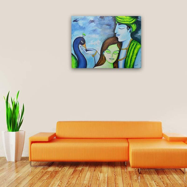 Radha Krishna Canvas Board Painting - YesNo