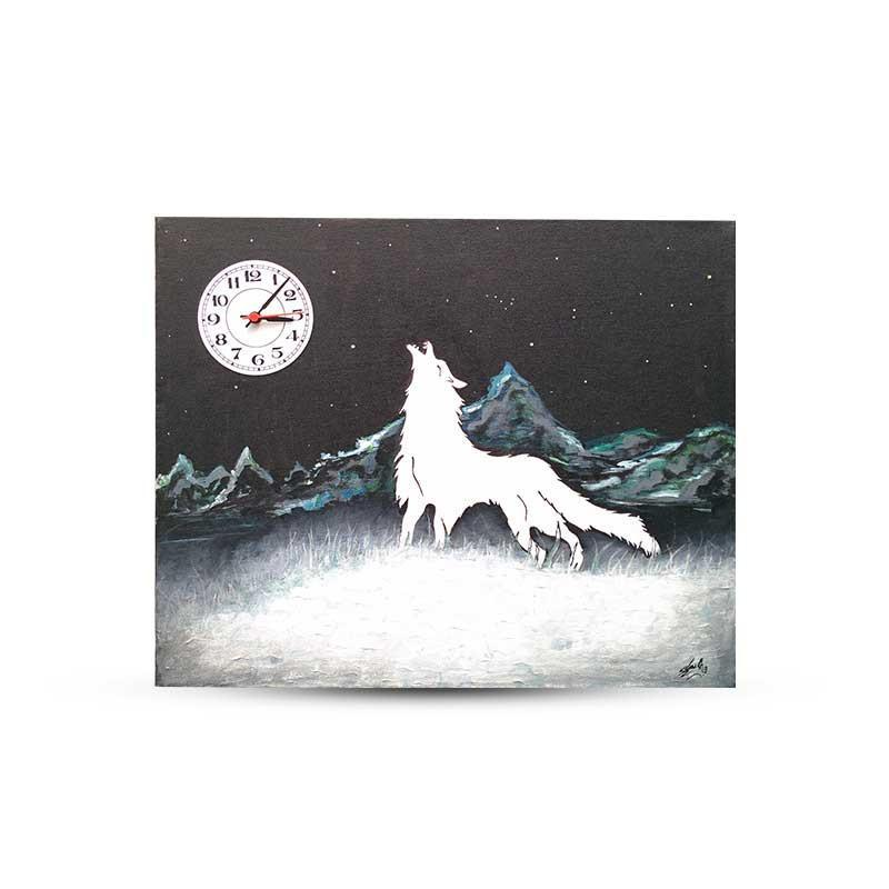 Wolf Canvas Clock Painting