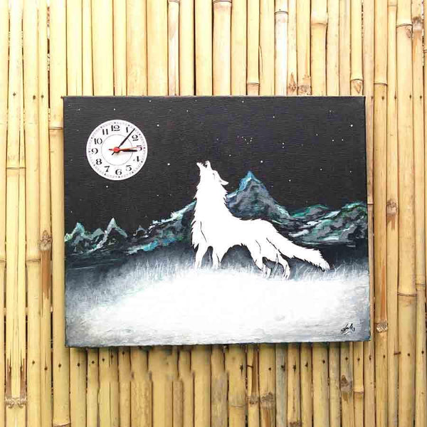 Wolf Canvas Clock Painting - YesNo