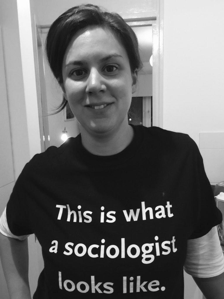 """This is what a sociologist looks like"" unisex tee, black"