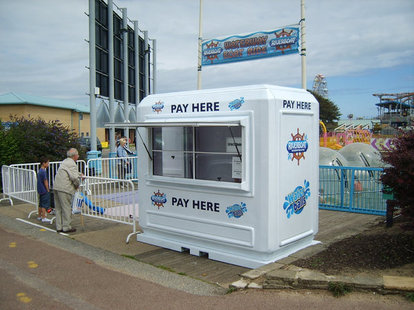 Portable ticket and payment booth at Skegness Water Park
