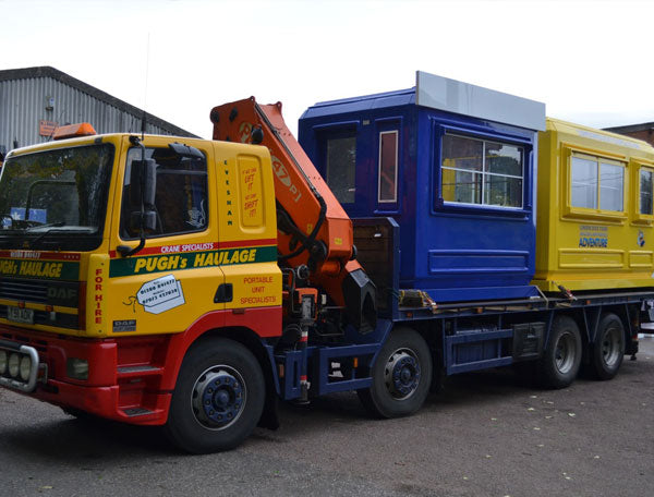 Kiosks transported by hiab lorry