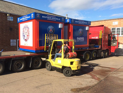 Kiosks , Huts and Cabins transported by hiab lorry