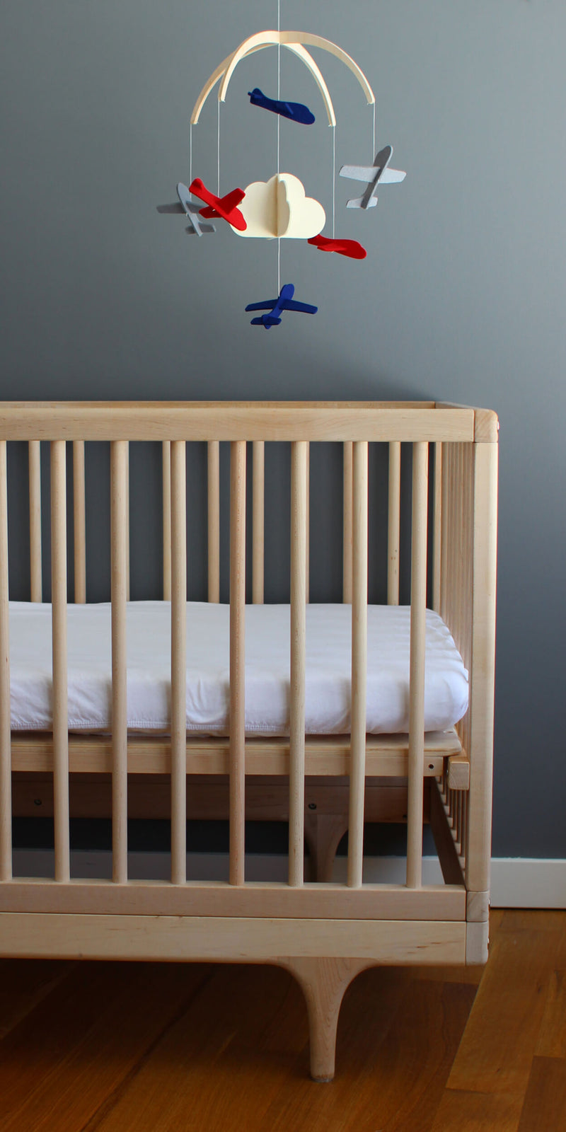 baby boy mobile over crib
