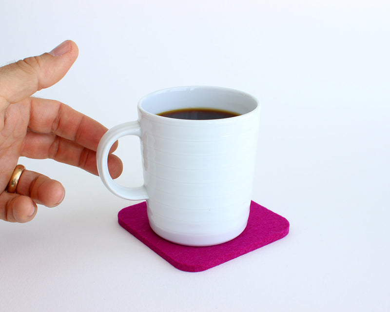 square felt coaster in use