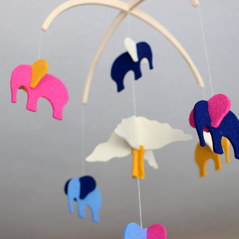 Elephant Mobile for Baby - Girl Nursery Decor