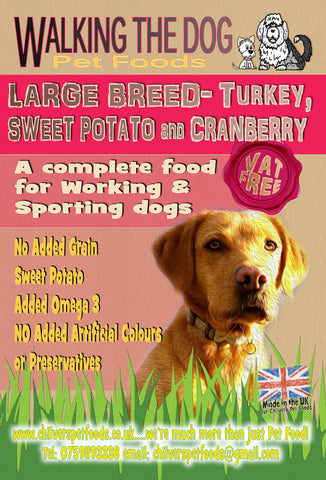 15kg Working Dog Grain Free LARGE BREED Turkey, Sweet Potato and Cranberry