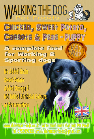 15kg Working Dog Grain Free Puppy Chicken, Sweet Potato, Carrots and Peas