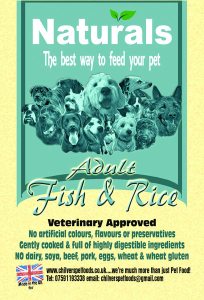 Naturals white fish rice dog food chilvers pet foods for Fish and rice diet