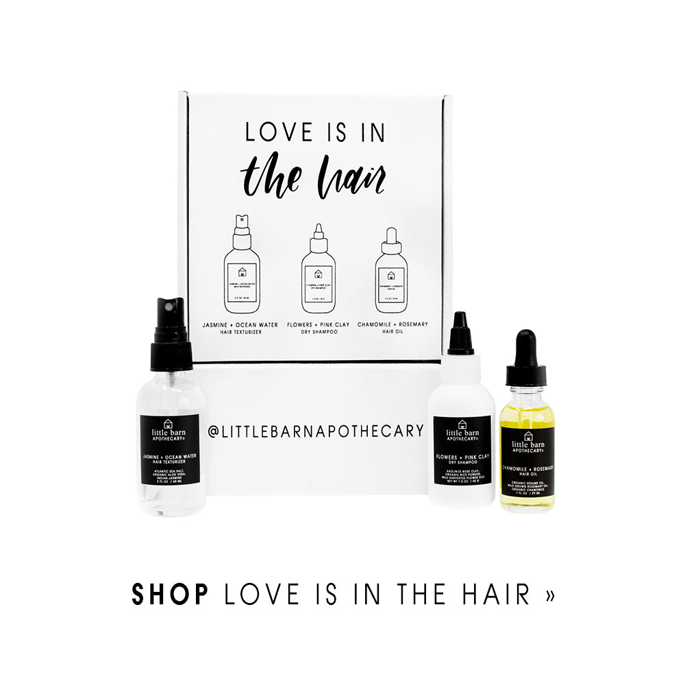 Little Barn Apothecary Love is in the Hair Holiday Kit Face Oil Dry Shampoo Texturizer Natural Hair Care