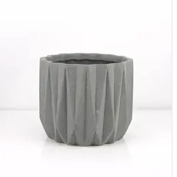 Geometric Grey Sand Planter - 6.5""