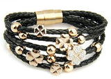 BAMOER Hot Sell Leather pulsera Rose Gold Color Bracelet for Women Leaf Clover Crystal Charm Jewelry PI0697